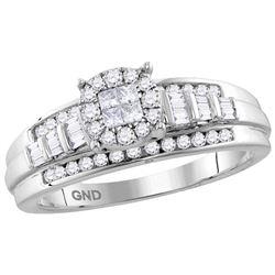 10kt White Gold Womens Princess Round Diamond Cluster B