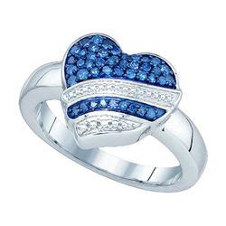 10KT White Gold 0.33CTW BLUE DIAMOND HEART RING