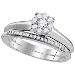 10k White Gold Womens Natural Round Diamond Bridal Wedd