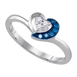 925 Sterling Silver White 0.12CT DIAMOND HEART RING