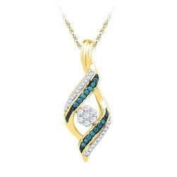 10K Yellow-gold 0.25CTW BLUE DIAMOND FASHION PENDANT