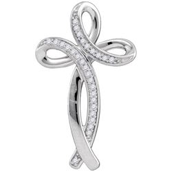 10KT White Gold 0.09CTW DIAMOND CROSS PENDANT