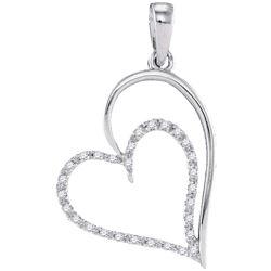 10kt White Gold Womens Round Diamond Heart Pendant 1/8