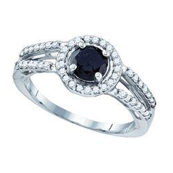 10K White-gold 1.06CT BLACK DIAMOND MICRO PAVE RING