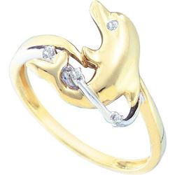 10KT Yellow Gold 0.03CTW DIAMOND DOLPHIN RING