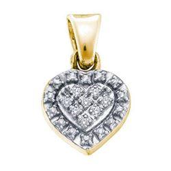 925 Sterling Silver Yellow 0.03CTW DIAMOND HEART PENDAN
