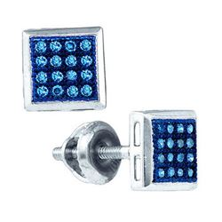 10KT White Gold 0.10CT BLUE DIAMOND FASHION EARRING
