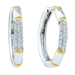 14KT White Gold 0.15CTW DIAMOND LADIES CLUSTER HOOPS