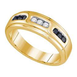 10KT Yellow Gold 0.36CT DIAMOND MENS BAND