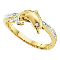 10K Yellow-gold 0.05CTW  DIAMOND DOLPHIN RING