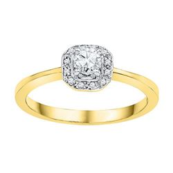 10K Yellow-gold 0.25CTW-Diamond 0.20CT-CRD BRIDAL RING