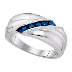 925 Sterling Silver White 0.33CTW-BLUE DIAMOND MENS RIN