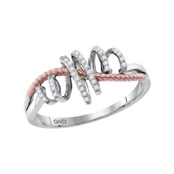 10kt White Gold Womens Round Diamond Pink-tone Rope Spi