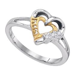 925 Sterling Silver White 0.03CTW DIAMOND HEART RING
