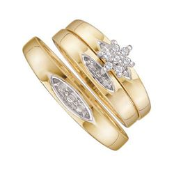 10K Yellow-gold 0.10CT DIAMOND CLUSTER TRIO SET