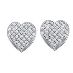 10KT White Gold 0.10CT DIAMOND HEART EARRINGS