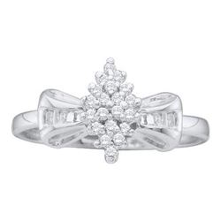 10KT White Gold 0.10CTW DIAMOND CLUSTER RING