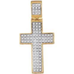 10kt Yellow Gold Mens Round Diamond Christian Cross Cha