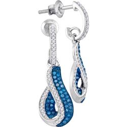 10KT White Gold 0.40CTW-Diamond MICRO-PAVE EARRING