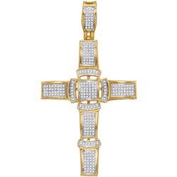 10kt Yellow Gold Mens Round Diamond Segmented Christian