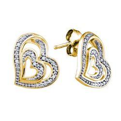 925 Sterling Silver Yellow 0.04CT DIAMOND HEART EARRING