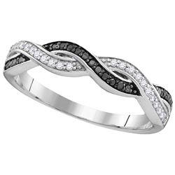 Sterling Silver Womens Round Black Colored Diamond Wove