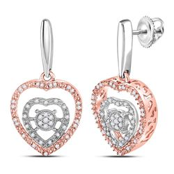 Sterling Silver Womens Round Diamond Rose-tone Heart Da