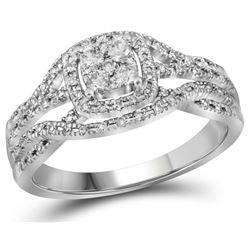 Bridal 10K White Gold Cluster Infinity Diamond Wedding