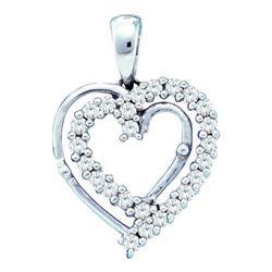10KT White Gold 0.25CTW DIAMOND LADIES HEART PENDANT