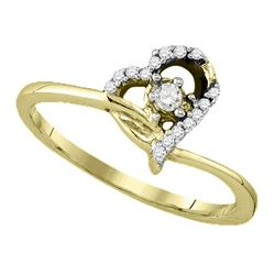 10k Yellow Gold Round Diamond Womens Heart Dainty Promi