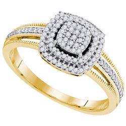 10K Yellow-gold 0.25CTW-Diamond MICRO-PAVE RING
