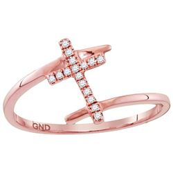 10kt Rose Gold Womens Round Diamond Bisected Cross Reli