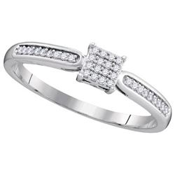 10KT White Gold 0.10CTW DIAMOND MICRO-PAVE BRIDAL RING