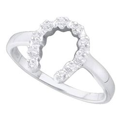 10KT White Gold 0.05CTW DIAMOND HORSE SHOE RING
