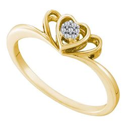 10K Yellow-gold 0.02CT DIAMOND HEART RING
