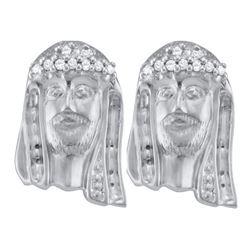 925 Sterling Silver White 0.10CTW DIAMOND CLUSTER EARRI