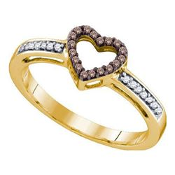 10KT Yellow Gold 0.12CTW COGNAC DIAMOND HEART RING