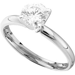 14kt White Gold Womens Round Natural Diamond Solitaire