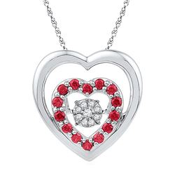 Sterling Silver Womens Round Lab-Created Ruby Heart Mov