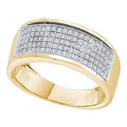 10KT Yellow Gold 0.30CTW DIAMOND MICRO PAVE MENS BAND