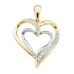 10KT Yellow Gold 0.10CTW DIAMOND LADIES HEART PENDANT