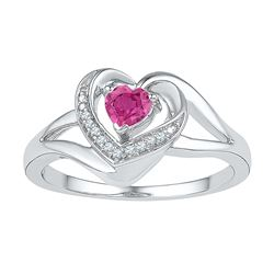 Sterling Silver Womens Round Lab-Created Pink Sapphire