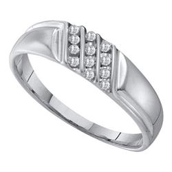 10KT White Gold 0.12CT DIAMOND MENS FASHION BAND