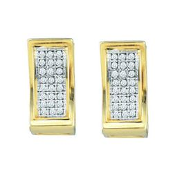 10KT Yellow Gold 0.15CTW DIAMOND MICRO PAVE HOOPS