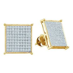 10KT Yellow Gold 0.05CTW DIAMOND MICRO PAVE EARRINGS