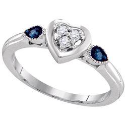 925 Sterling Silver White 0.10CTW BLUE DIAMOND FASHION