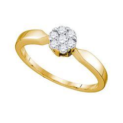 10KT Yellow Gold 0.25CTW DIAMOND LADIES FLOWER RING