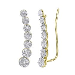 10kt Yellow Gold Womens Round Diamond Cluster Climber E