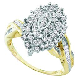 10KT Yellow Gold 0.50CTW-DIAMOND CLUSTER RING