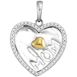 Sterling Silver Womens Round Diamond I Heart Mom Mother